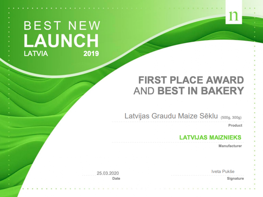 """""""Latvijas Graudu"""" bread with seeds was recognized as the best new product in Latvia in 2019"""