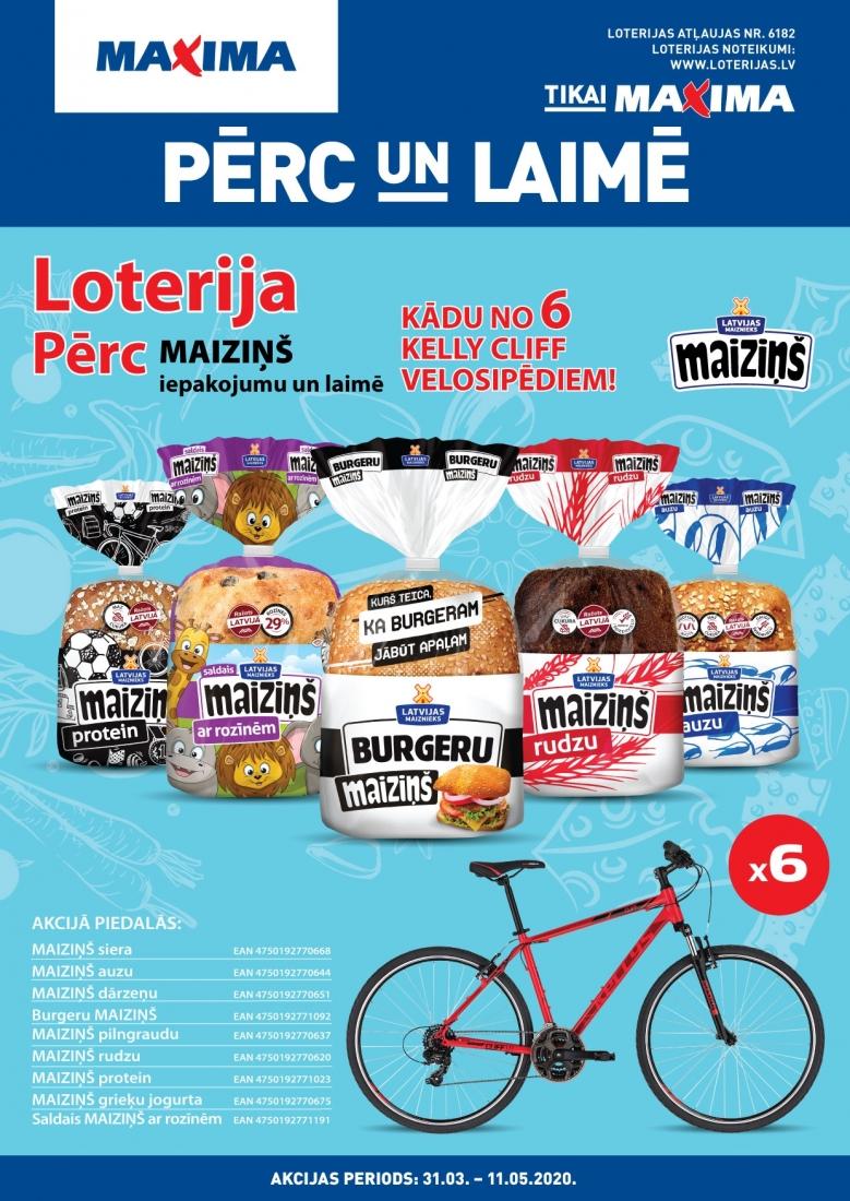 """""""Maiziņš"""" loterija - PĒRC un LAIMĒ kādu no 6 KELLY CLIFF velosipēdiem!"""
