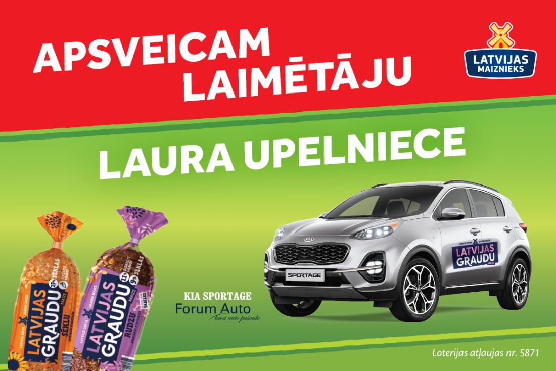 Apsveicam Latvijas Graudu maizes loterijas laimētāju Lauru Upelnieci!