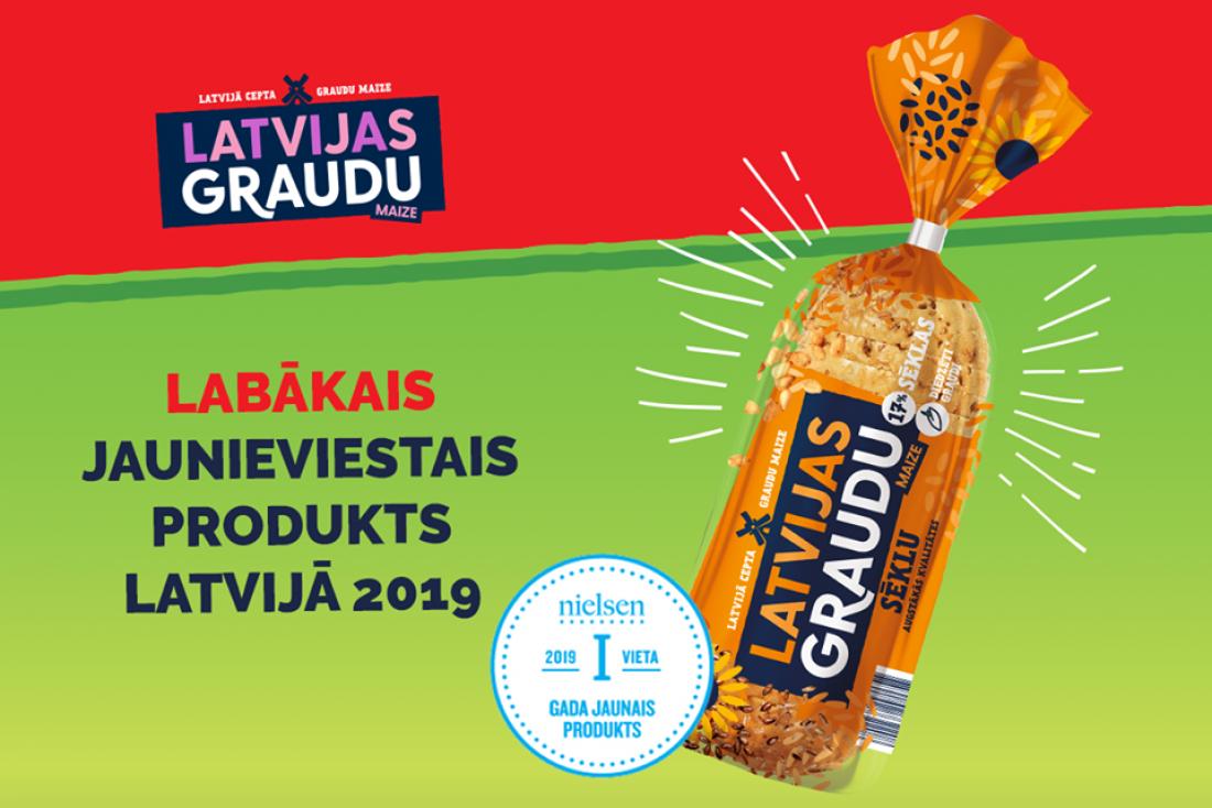 """Par Latvijas labāko jauno produktu 2019. gadā atzīta """"Latvijas Graudu"""" maize ar sēklām"""
