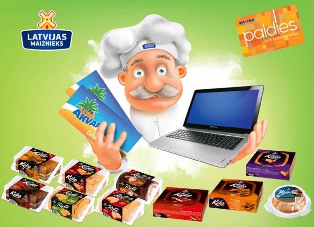 """Покупай торт или рулет """"LATVIJAS MAIZNIEKS"""", используя карточку PALDIES и ВЫИГРЫВАЙ!"""