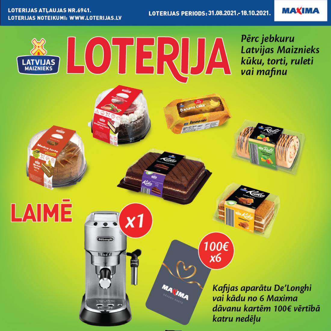 KONDITOREJAS IZSTRĀDĀJUMU loterija MAXIMA veikalos