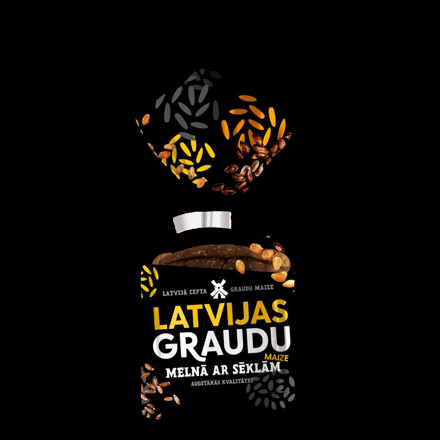 """""""LATVIJAS graudu maize"""" melnā ar sēklām"""