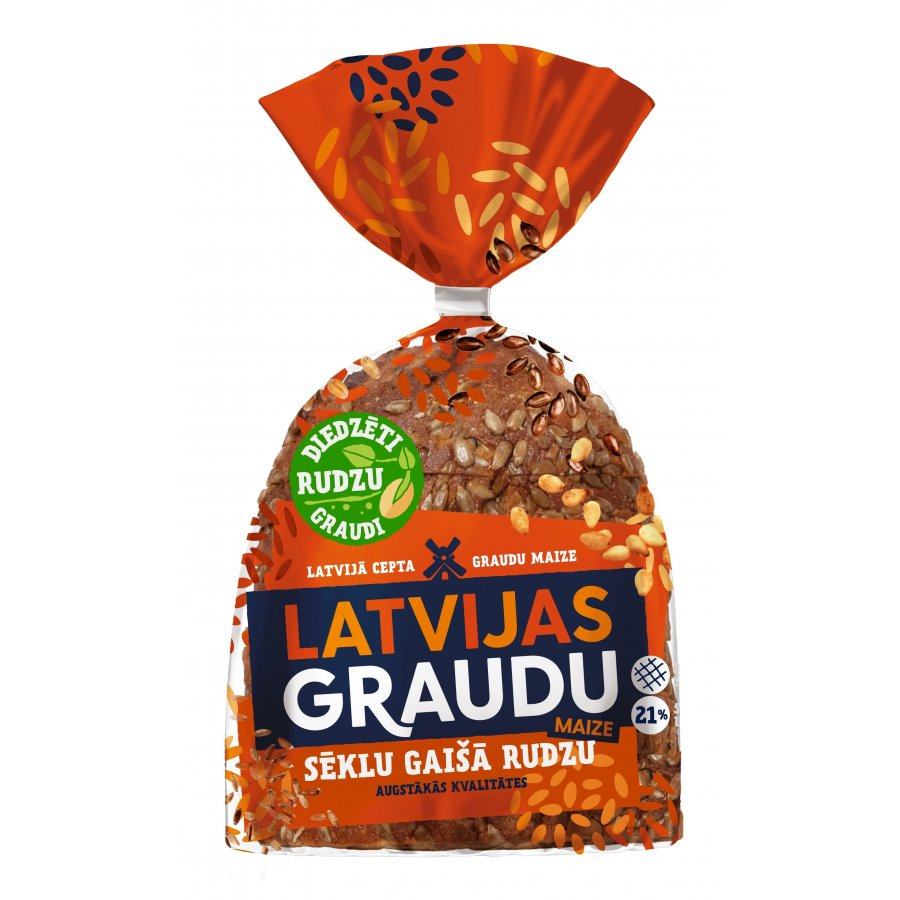"""LATVIJAS GRAUDU"" light rye bread with seeds"