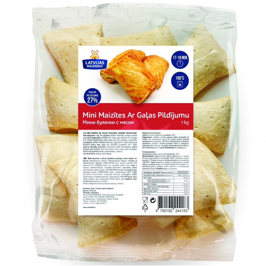 Mini pastries with meat filling XL packaging